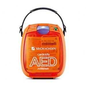 DESFIBRILADOR AUTOMÁTICO EXTERNO (DEA) , modelo AED 3100K, de la marca NIHON KOHDEN, de procedencia Japonesa.